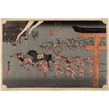 歌川広重: Miya: Festival of the Atsuta Shrine (Miya, Atsuta shinji), from the series Fifty-three Stations of the Tôkaidô Road (Tôkaidô gojûsan tsugi no uchi), also known as the First Tôkaidô or Great Tôkaidô - ボストン美術館
