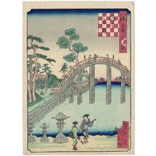 Utagawa Yoshitaki: Arched Bridge at the Sumiyoshi Shrine (Sumiyoshi soribashi), from the series One Hundred Views of Osaka (Naniwa hyakkei) - Museum of Fine Arts