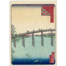 Utagawa Yoshitaki: Yamato-bashi Bridge in Sumiyoshi ( Sumiyoshi Yamato-bashi), from the series One Hundred Views of Osaka (Naniwa hyakkei) - Museum of Fine Arts