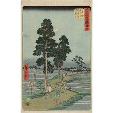 Utagawa Hiroshige: No. 37, Akasaka: On the Nawate Road, Yajirôbei Takes Kitahachi for a Fox and Beats Him (Akasaka, Nawatemichi ni te Yajirôbei Kitahachi o kitsune to omohite chôchaku suru), from Famous Sights of the 53 Stations (Gojûsan tsugi meisho zue) (Vertical Tôkaidô) - Museum of Fine Arts