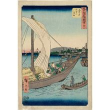 Utagawa Hiroshige: No. 43, Kuwana: Ferryboats at Shichiri (Kuwana, Shichiri no watashibune), from the series Famous Sights of the Fifty-three Stations (Gojûsan tsugi meisho zue), also known as the Vertical Tôkaidô - Museum of Fine Arts