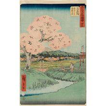 歌川広重: No. 45, Ishiyakushi: Yoshitsune's Cherry Tree and the Shrine of Noriyori (Ishiyakushi, Yoshitsune sakura Noriyori no hokora), from the series Famous Sights of the Fifty-three Stations (Gojûsan tsugi meisho zue), also known as the Vertical Tôkaidô - ボストン美術館