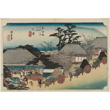 歌川広重: Ôtsu: Hashirii Teahouse (Ôtsu, Hashirii chaya), first state, from the series Fifty-three Stations of the Tôkaidô Road (Tôkaidô gojûsan tsugi no uchi), also known as the First Tôkaidô or Great Tôkaidô - ボストン美術館