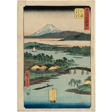 Utagawa Hiroshige: No. 3, Kawasaki: Tsurumi River and Namamugi Village (Kawasaki, Tsurumigawa Namamugi no sato), from the series Famous Sights of the Fifty-three Stations (Gojûsan tsugi meisho zue), also known as the Vertical Tôkaidô - Museum of Fine Arts