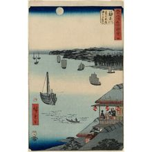 Utagawa Hiroshige: No. 4, Kanagawa: View over the Sea from the Teahouses on the Embankment (Kanagawa, dai no chaya kaijô miharashi), from the series Famous Sights of the Fifty-three Stations (Gojûsan tsugi meisho zue), also known as the Vertical Tôkaidô - Museum of Fine Arts
