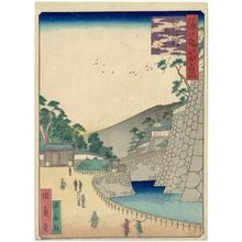 Utagawa Kunikazu: The Sujigane Gate of Osaka Castle (Sujigane gomon), from the series One Hundred Views of Osaka (Naniwa hyakkei) - Museum of Fine Arts