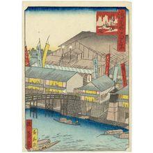 Utagawa Kunikazu: Kado-za Theater at Dôton-bori (Dôton-bori Kado no shibai), from the series One Hundred Views of Osaka (Naniwa hyakkei) - Museum of Fine Arts
