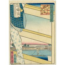 Utagawa Kunikazu: View of Nabeshima Area from Ôe-bashi Bridge (Ôe-bashi yori Nabeshima fûkei), from the series One Hundred Views of Osaka (Naniwa hyakkei) - Museum of Fine Arts