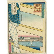 Utagawa Kunikazu: View of Nabeshima Area from Ôe-bashi Bridge (Ôe-bashi yori Nabeshima fûkei), from the series One Hundred Views of Osaka (Naniwa hyakkei) - Museum of Fine Arts