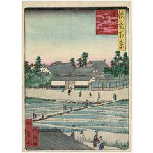 Utagawa Kunikazu: Temple of the Goddess Kishibojin at Hamamura (Hamamura Kishibojin), from the series One Hundred Views of Osaka (Naniwa hyakkei) - Museum of Fine Arts