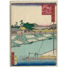 Utagawa Kunikazu: Bleached Cotten Riverbank at Kunijima (Kunijima Sarashi-zutsumi), from the series One Hundred Views of Osaka (Naniwa hyakkei) - Museum of Fine Arts