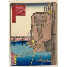 歌川国員: Aji River Bridge (Ajikawa-bashi), from the series One Hundred Views of Osaka (Naniwa hyakkei) - ボストン美術館