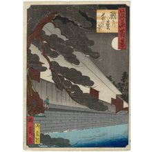 Utagawa Kunikazu: Night View of the Octopus Pine (Tako-no-matsu yoru no kei), from the series One Hundred Views of Osaka (Naniwa hyakkei) - Museum of Fine Arts