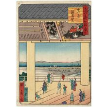 Utagawa Kunikazu: Votive-picture Hall at the Ikutama Shrine (Ikutama Ema-dô), from the series One Hundred Views of Osaka (Naniwa hyakkei) - Museum of Fine Arts