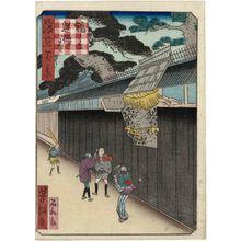 歌川芳滝: The Pine Tree of the Reversed Oars in Fukushima (Fukushima Sakaro-no-matsu), from the series One Hundred Views of Osaka (Naniwa hyakkei) - ボストン美術館