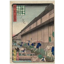Utagawa Yoshitaki: Zakoba Fish Market (Zakoba), from the series One Hundred Views of Osaka (Naniwa hyakkei) - Museum of Fine Arts