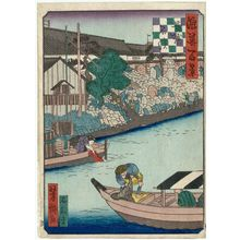 歌川芳滝: Stonemasons' Landing on the Nagahori Canal (Nagahori Ishihama), from the series One Hundred Views of Osaka (Naniwa hyakkei) - ボストン美術館