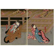 Utagawa Hirosada: Actors in Chûkô Koshigoejô, from right: Nakamura Utaemon IV as Gotobei, Nakamura Tamashichi I as the Maiden (Musume) Tokujo, Nakamura Karoku I as the Wife (Nyôbô) Sekinoto, and Mimasu Daigorô IV as Izumi no Saburô - Museum of Fine Arts