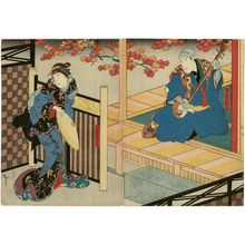 Utagawa Hirosada: Actors ? (R) and Nakamura Utaemon IV as Yaegiri (L) - Museum of Fine Arts