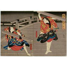 Utagawa Hirosada: Nakamura Utaemon IV as Nuregami Chôgorô (R) and Jitsukawa Enzaburô I as Hanaregoma Chôkichi (L), in Act 2 of Chôchô no Monbi - Museum of Fine Arts