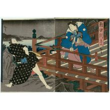 Utagawa Hirosada: Actors Nakamura Tamashichi I as Sutewakamaru (R) and Arashi Rikaku II as the hairdresser Gengorô (L), in Act 2 of Chigogafuchi - Museum of Fine Arts