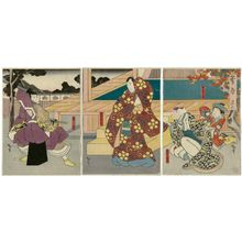 Utagawa Hirosada: Actors Nakamura Baika II as Kariya-hime and Ichikawa Sukejûrô II as Kakuju (R), Mimasu Daigorô IV as Kan Shôjô (C), and Nakamura Utaemon IV as Terukuni (L), in Act 2 of Sugawara - Museum of Fine Arts