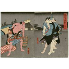 Utagawa Hirosada: Actor as Nagoya Sanza and Yakko ?, in Act 8 of Inazuma Sôshi - Museum of Fine Arts