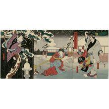 Utagawa Hirosada: Actors Arashi Sankô I as Yamanaya Bunzô and Arashi Chidori I as Midori (R), Sawamura Kitô II as Urazatô (C), and Nakayama Bunshichi IV as Tokijirô (L), in Akegarasu Yume no Awayuki - Museum of Fine Arts
