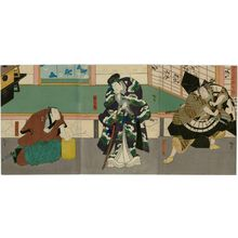 Utagawa Hirosada: Actors Arashi Rikan III as Shundô Genba (R), Onoe Tamizô II as Matsuômaru (C), and Arashi Rikaku II as Takebe Genzô (L), in Sugawara Buyûden - Museum of Fine Arts