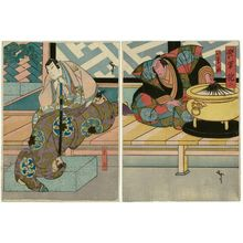 Utagawa Hirosada: Actors Ichikawa Ebizô V as Iwanaga (R) and Kataoka Gadô II as Shigetada (L), in Act 3 of Kabuto Gunki - Museum of Fine Arts