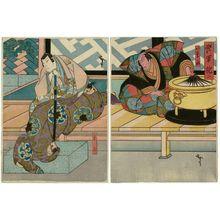 Utagawa Hirosada: Actors Ichikawa Ebizô V as Iwanaga (R) and Kataoka Gadô II as Shigetada (L), in Act 3 of Kabuto Gunki - Museum of Fine Arts