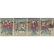 Utagawa Hirosada: Actors, from right: Kataoka Gadô II as Hotei Ichi and Kataoka Ichizô I as Kaminari Shôkurô; Mimasu Daigorô IV as Karigane Bunshichi; Kataoka Gadô II as Kadozaemon; Nakayama Bunshichi IV as An no Heibei and Anegawa Shinkurô IV as Gokuin Sen'emon - Museum of Fine Arts