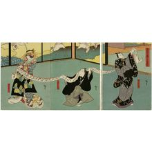 Utagawa Hirosada: Actors Nakamura Utaemon IV as Izaemon (R), Mimasu Daigorô IV as Kizaemon (C), and Nakayama Nanshi II as Yûgiri (L), in Chûkô Kuruwa Bunsho - Museum of Fine Arts