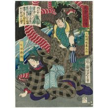 月岡芳年: The Snake Catcher Gamakurô and the Female Dancer Kakehashi (Uwabamitori Gamakurô, Onna Dengaku Kakehashi), from the series Sagas of Beauty and Bravery (Biyû Suikoden) - ボストン美術館