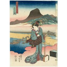 Utagawa Kunisada: View of Kanaya (Kanaya no zu), from the series Fifty-three Stations of the Tôkaidô Road (Tôkaidô gojûsan tsugi no uchi) - Museum of Fine Arts
