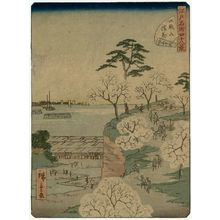 二歌川広重: No. 36, Cherry Blossoms in Full Bloom at Goten-yama (Goten-yama manka), from the series Forty-Eight Famous Views of Edo (Edo meisho yonjûhakkei) - ボストン美術館