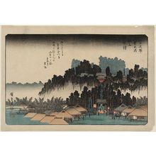 歌川広重: Evening Bell at Ikegami (Ikegami no banshô), from the series Eight Views in the Environs of Edo (Edo kinkô hakkei no uchi) - ボストン美術館