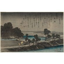 歌川広重: Night Rain at Azuma-no-mori (Azuma-no-mori yau), from the series Eight Views in the Environs of Edo (Edo kinkô hakkei no uchi) - ボストン美術館