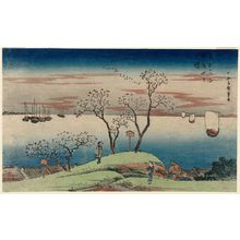 Utagawa Hiroshige: Evening Cherry Blossoms at Goten-yama (Goten-yama no yûzakura), from the series Famous Places in the Eastern Capital (Tôto meisho) - Museum of Fine Arts
