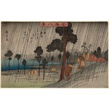 Utagawa Hiroshige: Night Rain at Koizumi (Koizumi yau), from the series Eight Views of Kanazawa (Kanazawa hakkei) - Museum of Fine Arts
