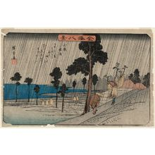 歌川広重: Night Rain at Koizumi (Koizumi yau), from the series Eight Views of Kanazawa (Kanazawa hakkei) - ボストン美術館