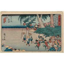 歌川広重: No. 35 - Yoshida: The Tennô Festival on the Fifteenth Day of the Sixth Month (Rokugatsu jûgonichi Tennôsai), from the series The Tôkaidô Road - The Fifty-three Stations (Tôkaidô - Gojûsan tsugi), also known as the Reisho Tôkaidô - ボストン美術館