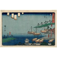 Utagawa Hiroshige: No. 42 - Miya: Shichiri Crossing, Gate of the Atsuta Shrine, and Nezame Village (Miya, Shichiri no watashi, Atsuta no torii, Nezame no sato), from the series The Tôkaidô Road - The Fifty-three Stations (Tôkaidô - Gojûsan tsugi), a.k.a. the Reisho Tôkaidô - Museum of Fine Arts