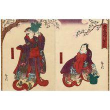 Kinoshita Hironobu I: Actors Mimasu Inemaru I as Tonoinosuke (R) and Arashi Rikaku II as the Ghost (Bôrei) of Hôkaibô (L) - Museum of Fine Arts