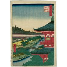 Utagawa Hiroshige: Zôjôji Pagoda and Akabane (Zôjôji-tô Akabane), from the series One Hundred Famous Views of Edo (Meisho Edo hyakkei) - Museum of Fine Arts