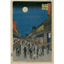 Utagawa Hiroshige: Night View of Saruwaka-machi (Saruwaka-machi yoru no kei), from the series One Hundred Famous Views of Edo (Meisho Edo hyakkei) - Museum of Fine Arts