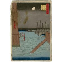 歌川広重: Tsukudajima from Eitai Bridge (Eitaibashi Tsukudajima), from the series One Hundred Famous Views of Edo (Meisho Edo hyakkei) - ボストン美術館