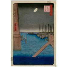 Utagawa Hiroshige: Tsukudajima from Eitai Bridge (Eitaibashi Tsukudajima), from the series One Hundred Famous Views of Edo (Meisho Edo hyakkei) - Museum of Fine Arts