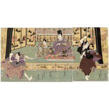 Shunkosai Hokushu: Actors Ichikawa Ebijûrô I as Yamaguchi Kurôjirô (R), Kataoka Nizaemon VII as Oda Harunaga and Ichikawa Ichizô II as Mori no Ranmaru (C), and Nakamura Utaemon III as Konoshita Tôkichi (L) - Museum of Fine Arts