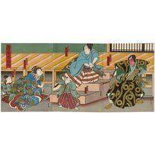 Hasegawa Munehiro: Actors Nakamura Kanjaku II as Katô Toranosuke (R); Arashi Rikaku II as Suzuki Magoichi, Kataoka Ichisaku I as His Brother (Otôto) Shigewaka (C); Fujikawa Tomokichi III as His Wife (Tsuma) Yukinoya, Arashi Toyomaru I as Matsuyoi (L); in Eawase Taikôki - ボストン美術館